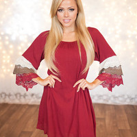 Laced Tier Dress Cranberry
