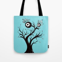 Excited Tree Monster Ink Drawing Tote Bag by borianagiormova