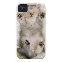 Kitten Sleeping on a White Fluffy Carpet, High Case-Mate iPhone 4 Cases from Zazzle.com