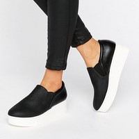 New Look Leather Look Flatform Slip On Trainer at asos.com