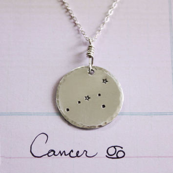 Cancer constellation necklace, sterling silver necklace, cancer sign, zodiac necklace, constellation necklace, stars,christmas gift necklace