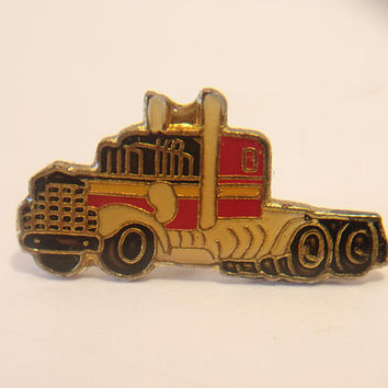 Vintage Semi Truck Lapel Pin Retro Hauling Tractor Rig Unisex Jewelry Fashion Accessories