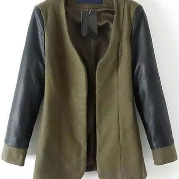 Army Green Long Sleeve Woolen Coat