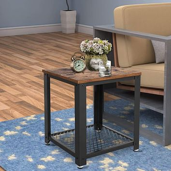 Metal Frame End Table with Wooden Top and Wide Mesh Bottom Shelf, Brown and Black By Casagear Home
