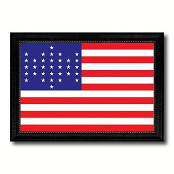 Union Civil War 33 Stars Military Flag Canvas Print with Black Picture Frame Gift Ideas Home Decor Wall Art Decoration