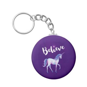 Believe with Unicorn In Pastel Watercolors Keychain
