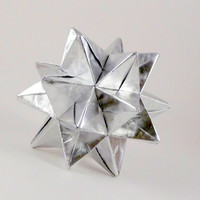 Origami Star Paper Ornament Silver Star by CreativeLifeByEmily