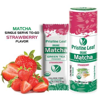 Matcha Strawberry Flavor  - Single Serve Anytime Anywhere To Go, 12 Single Servings