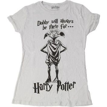 Harry Potter Dobby the House Elf Licensed Women's Junior T-Shirt - Silver Grey