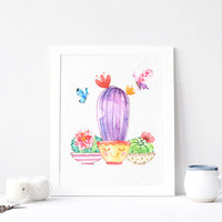 Cactus, Succulent, Butterfly, Plant Garden Art, Aquarelle Flowers, Positive, Inspirational Print Printable, Watercolor, DOWNLOAD 8x10