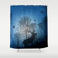 Deer in the snow  Shower Curtain by Pirmin Nohr