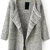 Beige Long Sleeve Knit Cardigan