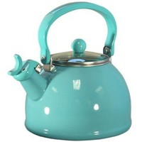 Calypso Basics 2-1/5 Quart Whistling Teakettle w/ Glass Lid, Turquoise