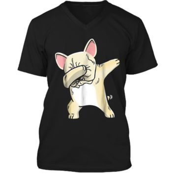 Frenchie Dabbing  French Bulldog Kids Clothes Mens Printed V-Neck T