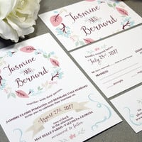 Floral Wreath Wedding Invitations Wine and Cream Pocket Invitation Rustic Wedding Invite Set Leaf Wedding Invitation Suite Outdoor Wedding