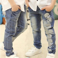 Skull Print Boys Jeans pants fashion baby boy clothes spring & autumn blue boys denim trousers casual boys clothing 3-7Y