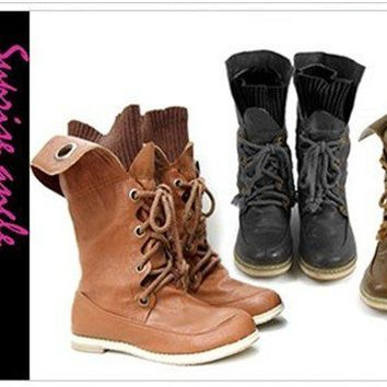 Lace -Up Buckle Strap Ankle fashionable Boots Shoes 3 color size US 5-10.5 #9