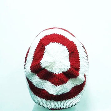 Slouch beanie red white small stripes beret knit slouchy 5275