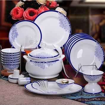 Bine China 46pcs Dinnerware Set Ceram Tableware Set Ceramic Plates Bowls Dishes Plates Soupe Bowls