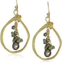 "Avindy Jewelry ""Pyrite Metallic"" Wirey Pear Pyrite in 18K Gold Vermeil Hoop Earrings"