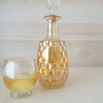 Gold Glass Decanter,  Iridescent Liquor Decanter, Thumbprint Carnival Glass  Bottle,