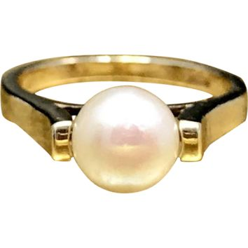 Vintage 1960s Mid Century Modernist - Minimalist Genuine Pearl Ring Featuring a Unique Two Prong Setting and Crafted in 10 Karat Gold a Perfect Pinky Ring or Midi Ring Currently a Size 1