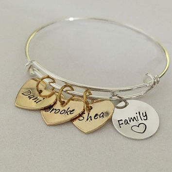 Mothers jewelry with kids names, Mothers gift for mom, Gift for grandma, family member bracelet, Family bracelet, children names bracelet