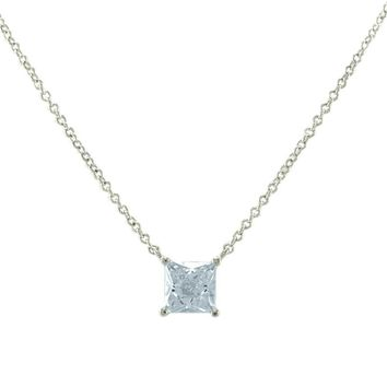 Meg Princess CZ Silver Pendant Necklace – 6mm | 1ct