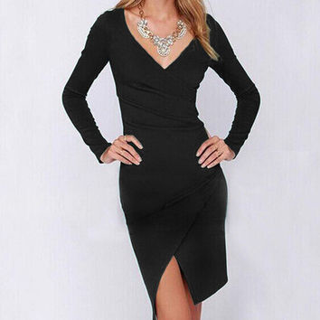 Ruffle Scales Design Deep V Irregular Dress Slim One Piece Dress [6338928641]