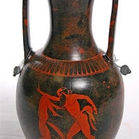 Greek Satyrs Bacchic Rites with Drinking Cups Amphora Greek Vase - 8681