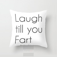 Throw Pillow. Funny Fart Pillow Cover. 18 inch.  Double sided Print
