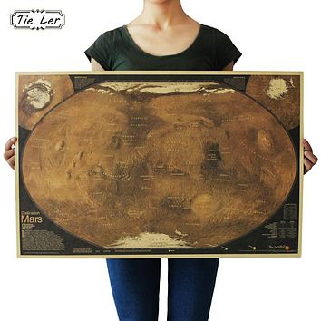 TIE LER Mars Map Poster Retro Vintage Living Room Decoration Picture Large Size Wall Sticker Home Art Posters