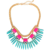 Aqua Tribal Spikes Necklace