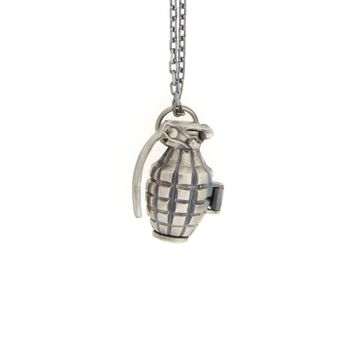 Sterling Silver Grenade Pill Holder Necklace - Necklaces