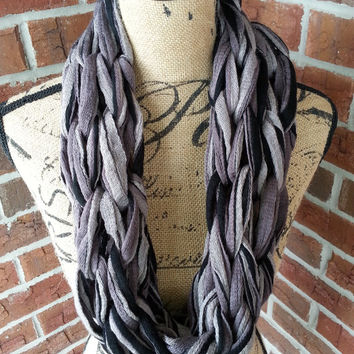 Black and Gray Arm knitted scarf, neutral scarf, knit scarf, infinity cowl, Bulky arm knit scarf multicolor infinity scarf, fashion scarf