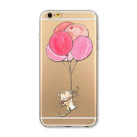 Balloon cat mobile phone case for iPhone7 7S 7 7Splus iphone 5 5s SE 6 6s 6 plus 6s plus + Nice gift box 072701