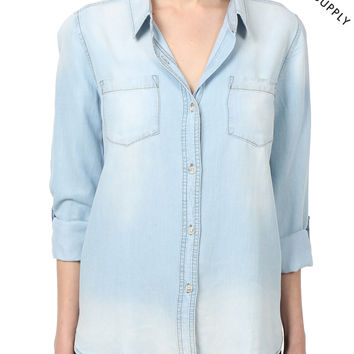 THREAD & SUPPLY PREMIUM DESIGN Womens  Loose Chambray Denim Button Front Shirt (CLEARANCE)