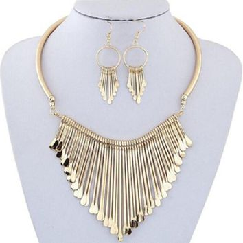 Fashion Luxury Womens Metal Tassels Pendant Chain Bib Necklace Earrings Jewelry Set