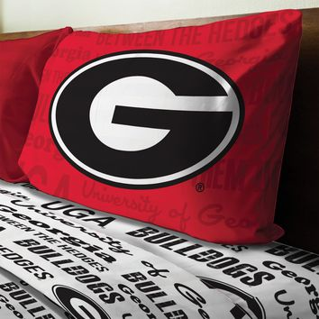 NCAA Georgia Bulldogs Bed Sheet Set College Team Anthem Bedding Accessories