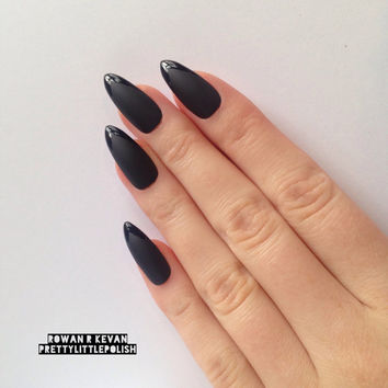 Matte Black with Glossy Tip Press On Stiletto nails, Nail designs, Nail art, Nails, Stiletto nails, Acrylic nails, Pointy nails, Fake nails
