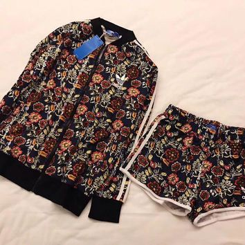 adidas Cirandeira Floral Print Track Jacket Casual Sport Shorts Set Two-Piece