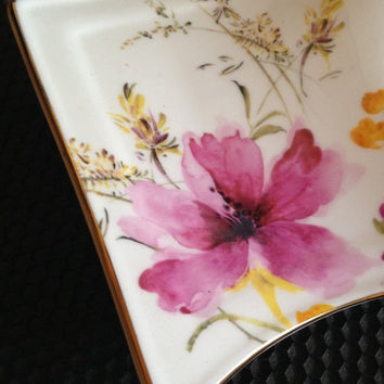 Adeline Fine Porcelain Butterfly & Flower Presentation Tea Trio, Fancy Tea Cup, Fitted Plate, Stir Spoon, Art Deco Satisfaction Guaranteed