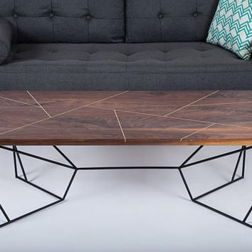 "Brass Coffee Table, Coffee Table, Brass , Geometric, Modern Coffee Table, Walnut Coffee Table: ""The Provo"""