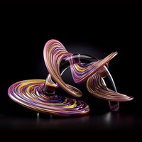 Ruby Happy Mix Heechee Probe on Clear Spine by Thomas Kelly: Art Glass Sculpture | Artful Home