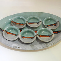 Ceramic Plate and Dishes, Passover  Plate, Seder Plate,  Tapas Set, Handmade Pottery in Teal Grey and Red Landscape