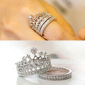 Sweety girls fashion Accessories Party Jewelry Crown Rings Crystal Silver Gold Luxury Ring set = 1946574212