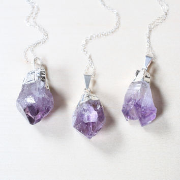 Silver Raw Amethyst Crystal Necklace