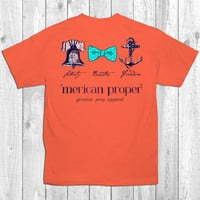 Merican Proper Preppy Liberty Bowties Freedom Anchor Bow Bell Coral Bright T-Shirt