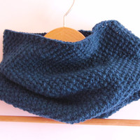 Dark turquoise handmade cowl. Hand knitted scarf made of 100% merino wool.
