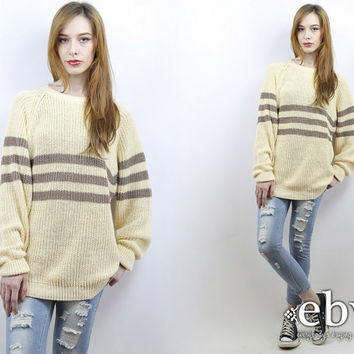 Oversized Knit Oversized Sweater Oversized Jumper Cream Sweater Striped Sweater Chunky Knit 90s Sweater Cream Jumper Men's Sweater